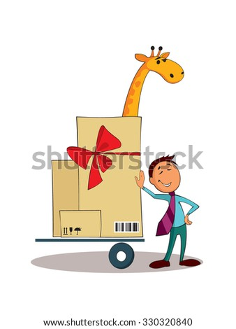 Service delivery of bulky cargo. Logistic concept. - stock vector