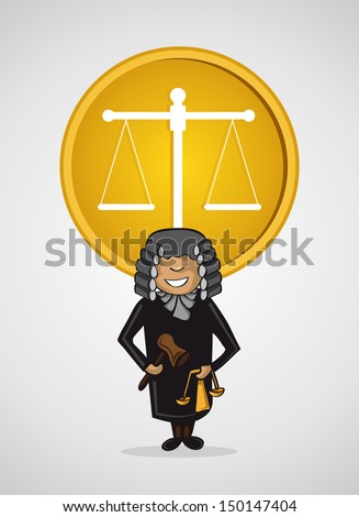 Service judge man cartoon law Justice scale icon. Vector file layered for easy personalization. - stock vector