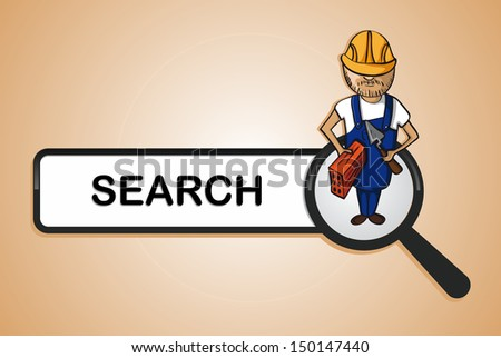 Service online search icon construction worker man cartoon. Vector file layered for easy personalization. - stock vector
