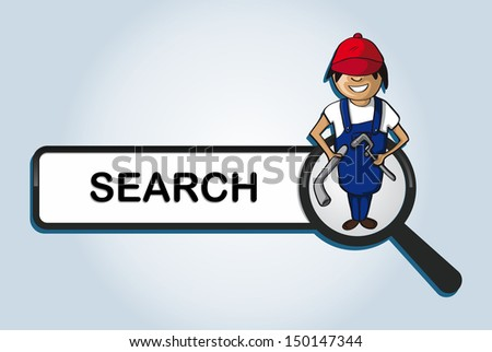 Service online search icon plumber man cartoon. Vector file layered for easy personalization. - stock vector