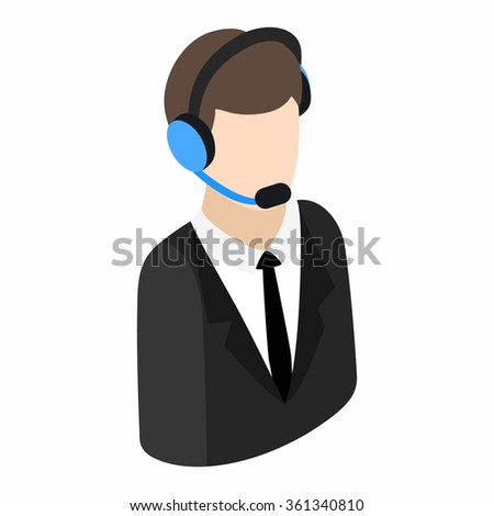 Service operator isometric 3d icon on a white background. Operator in headset - stock vector