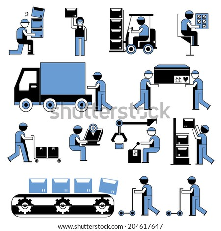 service people icons, working people in factory, cargo and shipping workshop