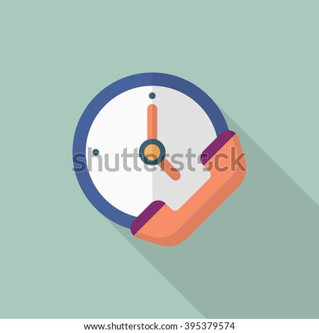 Service phone icon, Vector flat long shadow design. Shipping and logisticst concept. - stock vector