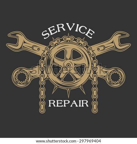 Service repair and maintenance. Emblem, logo vintage style. - stock vector
