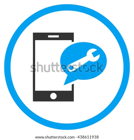 Service SMS vector bicolor icon. Image style is a flat icon symbol inside a circle, blue and gray colors, white background. - stock vector