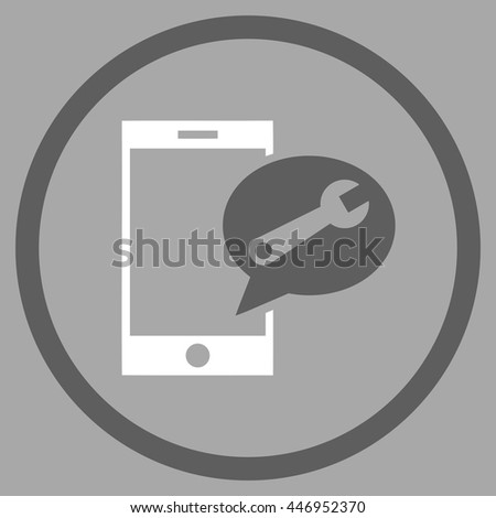 Service SMS vector bicolor icon. Image style is a flat icon symbol inside a circle, dark gray and white colors, silver background. - stock vector