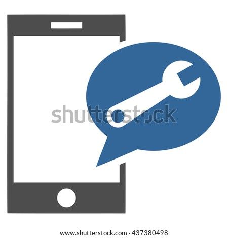 Service SMS vector icon. Style is bicolor flat icon symbol, cobalt and gray colors, white background. - stock vector