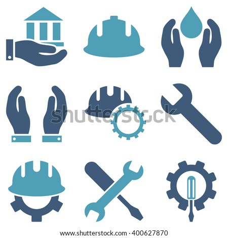 Service Tools vector icon set. Style is bicolor cyan and blue flat symbols isolated on a white background. - stock vector