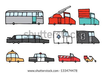 Service vehicle set - stock vector