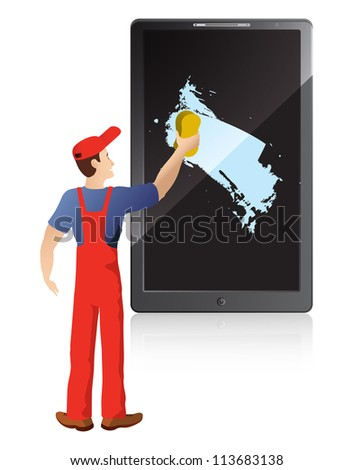 Service worker washing screen of mobile phone - stock vector