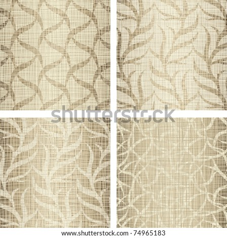 Set a background from beige fabrics natural flax - stock vector