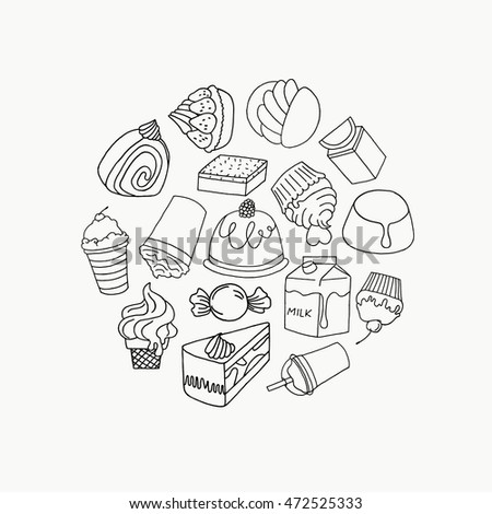 Set a cafe on a white background. Candy poster menu vector illustration. A collection of fair drinks and sweets. Vector Set: Candy Sweets Labels and Icons.