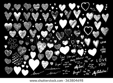 "Set, a collection of painted red hearts with the inscription ""For you!"". Hearts in the style of drawing, doodle, sketch. Vector drawing red hearts isolated on white background. Hearts Valentine's Day. - stock vector"