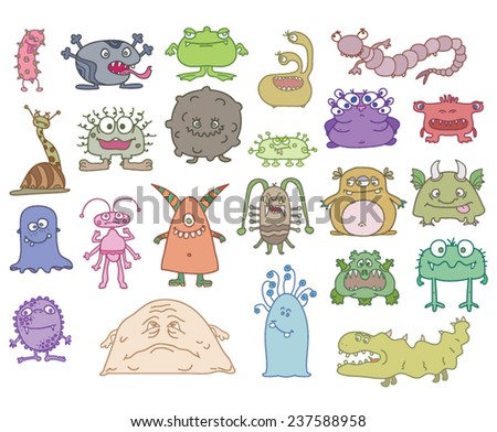 set a lot of terrible monsters - stock vector