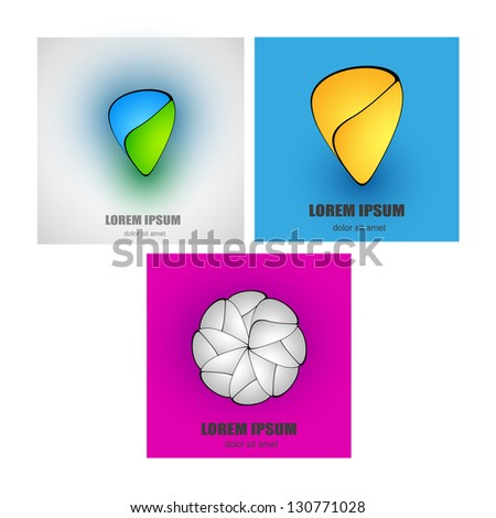 Set abstact logo template - stock vector