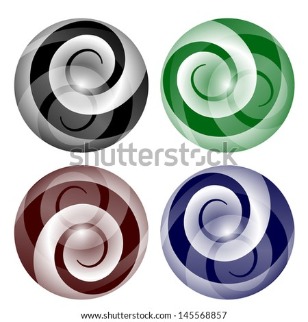set abstract ball with spiral