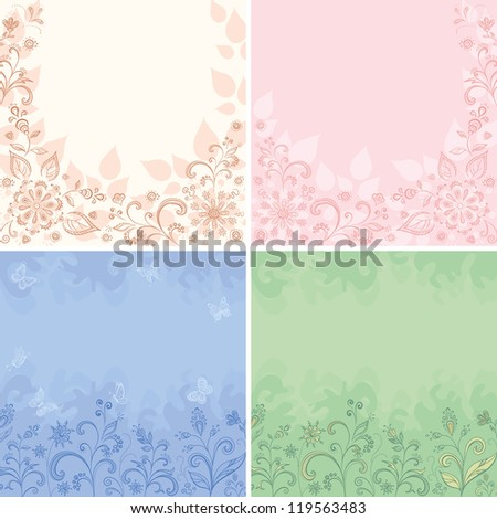 Set abstract floral backgrounds, symbolical flowers, butterflies and leaves. Vector
