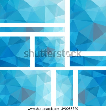 Set abstract modern poligonal background for site brochure, banner and covers, made with geometrical shapes to use for posters, book cover, invitation  and advertisement material, vector illustration - stock vector