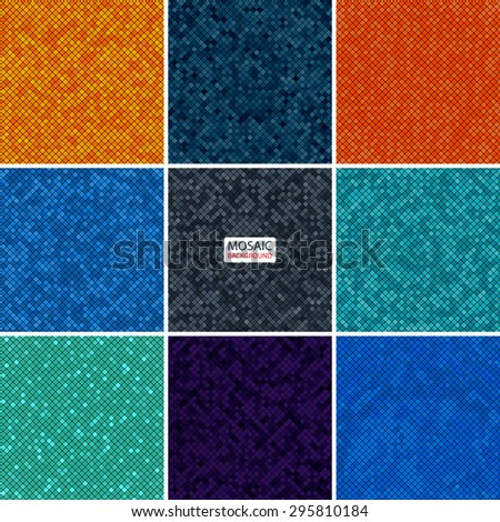 set abstract mosaic background of pixel pattern grid different color squares. vector illustration eps10 - stock vector