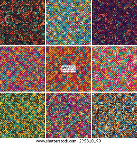 set abstract mosaic background of pixel pattern grid different colored squares. vector illustration eps10 - stock vector