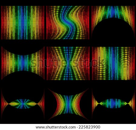 set abstract multicolored graphic equalizer vector illustration isolated on black background - stock vector