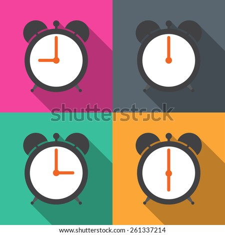 Set alarm clocks with different time from morning till dinner vector - stock vector