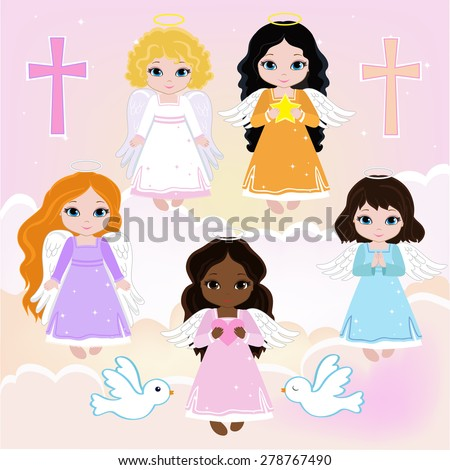Set Angel girls on the sky with pigeons. Baptism - stock vector