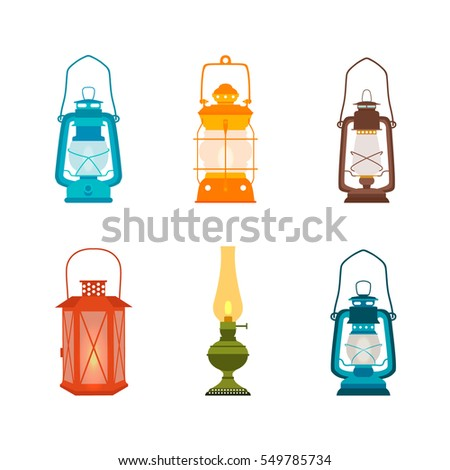 Set antique oil lanterns. Vector illustration.