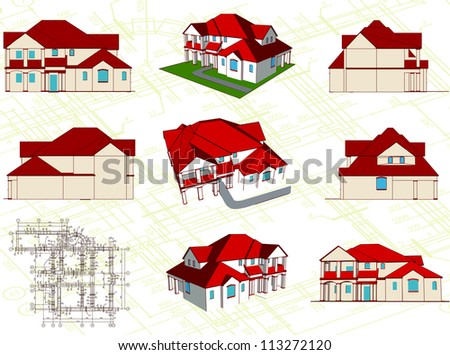 Set architectural objects. Vector illustration - stock vector