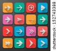 Set arrow icons, flat UI design trend, vector illustration of web design elements.  - stock vector
