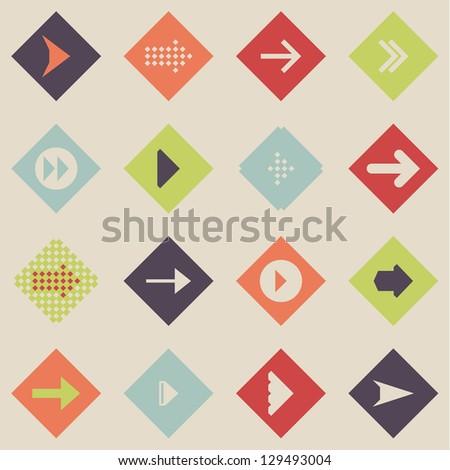 Set arrow sign icon vector - stock vector