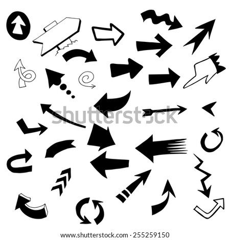 Set arrows icons. Draw by hand. - stock vector