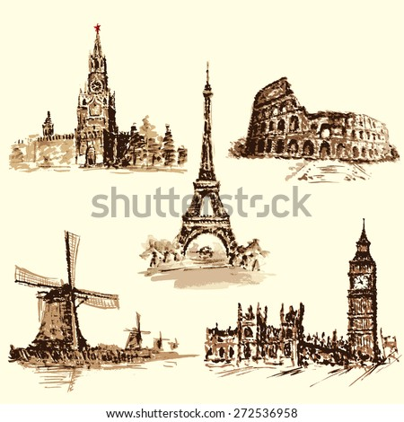 set attractions, the Kremlin, the Eiffel Tower, the Colosseum, the Big Ben, the Dutch Windmill. Watercolor hand-drawing. vector - stock vector