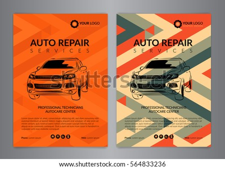 Set Auto Repair Business Layout Templates Stock Vector 564833236 ...