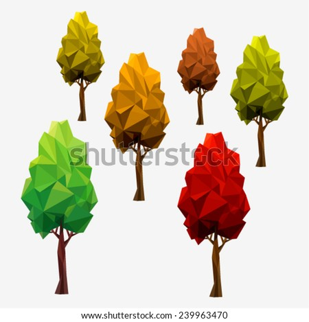 SET autumn trees. Tree abstract isolated on a white background (illustration of a many triangles) - stock vector