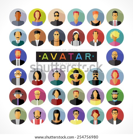 Set avatars people. Modern flat design icons. The file is saved in the version EPS 10. This image contains transparency.  - stock vector