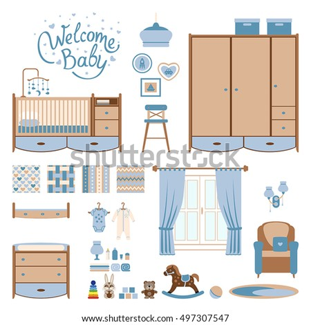 Set baby room elements. Nursery and playroom interior. Vector illustrartion.