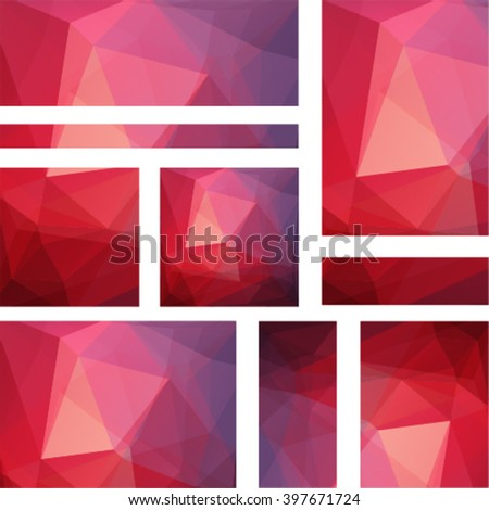 Set backgrounds of geometric shapes. Colorful mosaic pattern. Vector EPS 10. Vector illustration. Red, pink, orange  colors.  - stock vector