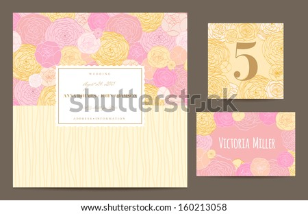 Set backgrounds to celebrate the wedding. Invitation card, table number, guest card. Vector illustration. Pastel background of lush roses, pink, yellow, coral, light. - stock vector