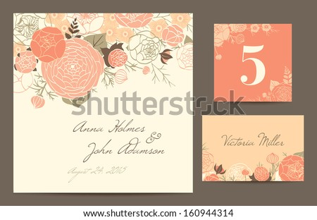 Set backgrounds to celebrate the wedding. Invitation card, table number, guest card. Vector illustration. Modern composition of coral roses, buttercups and carnations on a beige background. - stock vector