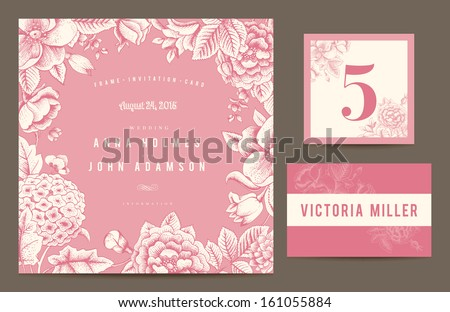 Set backgrounds to celebrate the wedding. Invitation card, table number, guest card. Vector illustration.  Flowers roses, dog-rose hydrangea in pink color.  - stock vector