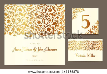 Set backgrounds to celebrate the wedding. Invitation card, table number, guest card. Vector illustration. Golden stylized elements of the field flowers on a beige background. - stock vector