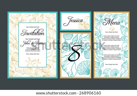 Set backgrounds to celebrate the wedding with hand drawn seashells. Wedding invitation, table number, guest card, menu card - stock vector