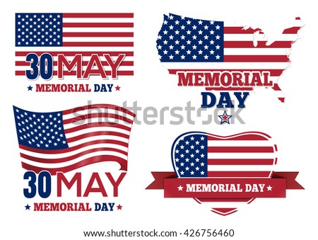 Set badge and labels isolated on white background for Memorial Day. Happy Memorial Day greeting card. Memorial Day design. Vector illustration - stock vector