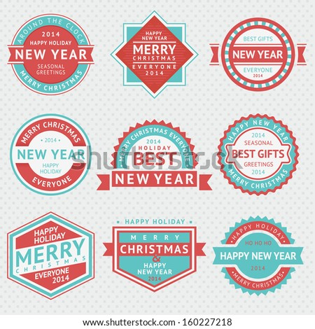Set badges for Christmas cards, vector illustrations