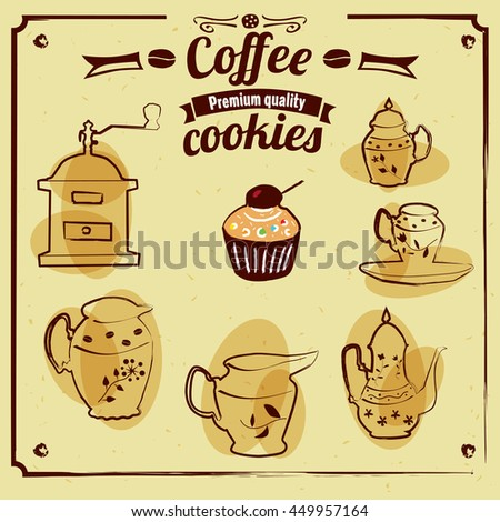 Set baking cookware and coffee, cartoon, vector, illustration