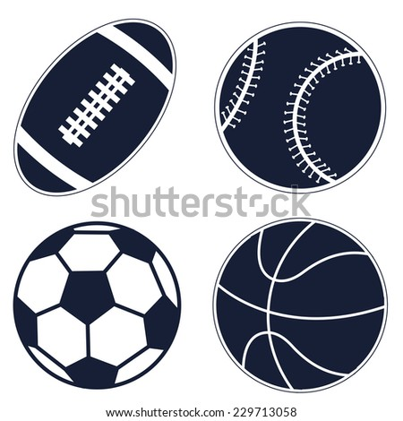Set ball icons: baseball, basketball, football, soccer on white background. Eps 10.