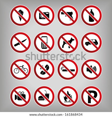 Set Ban Icons Prohibited Symbols - stock vector
