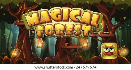 Set banner and icon for the computer game magic forest - stock vector