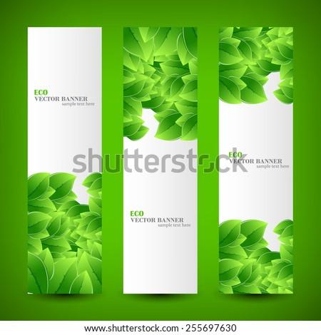Set banner ecology illustration, colorful digital composition - stock vector